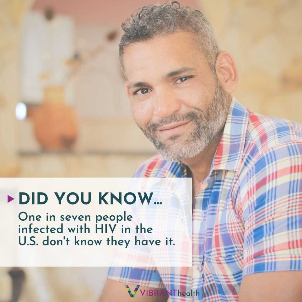 """Photo of man with caption """"Did you know that one in seven people infected with HIV don't know they have it."""""""